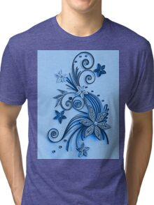 Blue ornament, floral design Tri-blend T-Shirt