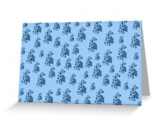Blue flowers, ornament, asymetric floral design Greeting Card