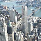 Aerial View, Lower Manhattan, East River, Brooklyn Bridge, Manhattan Bridge, New York City by lenspiro
