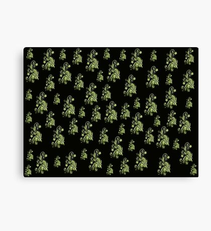 Cannary green flowers on black, ornament, asymetric floral design Canvas Print
