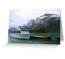 Atmospheric mountains at Maligne Lake Greeting Card