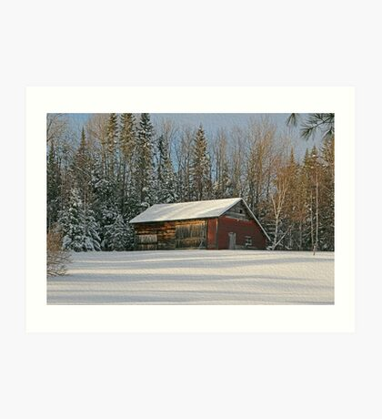 Old Barn Winter Snow Scene Art Print