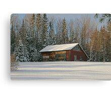 Old Barn Winter Snow Scene Canvas Print