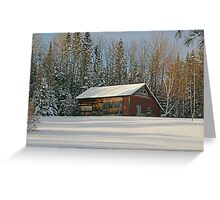 Old Barn Winter Snow Scene Greeting Card