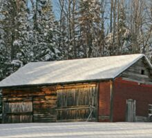 Old Barn Winter Snow Scene Sticker