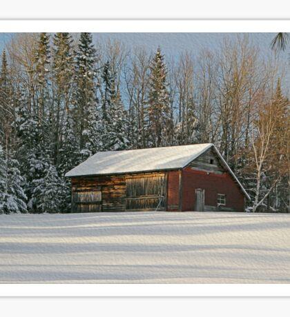 Old Barn Winter Snow Scene Sticker