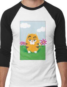 Cat in the Flowers Men's Baseball ¾ T-Shirt