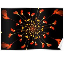 Red flower pattern on Japanese paper for background Poster