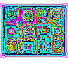 BRIGHT COLORFUL PATTERN OF CIRCLES IN SQUARES Photographic Print