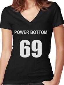 POWER BOTTOM 69 Women's Fitted V-Neck T-Shirt