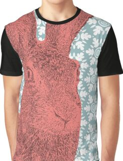 Pink Jackrabbit on Floral Geometric Graphic T-Shirt