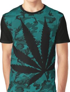 Camo Weed Skewed Graphic T-Shirt