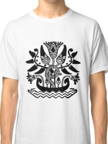 Abstract Black and White boat flower leaf plant Classic T-Shirt