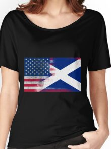 Cottish American Half Scotland Half America Flag Women's Relaxed Fit T-Shirt