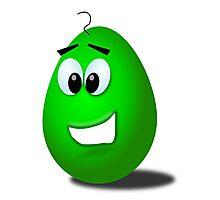 Green comic egg art Photographic Print