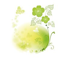 Green Floral Photographic Print