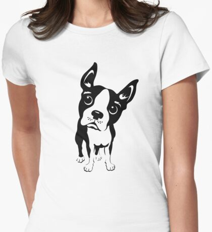 Boston Terrier Dog  Womens Fitted T-Shirt