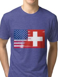 Swiss American Half Switzerland Half America Flag Tri-blend T-Shirt