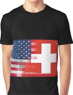 Swiss American Half Switzerland Half America Flag Graphic T-Shirt