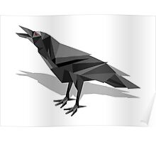 Raven Cubist Grey Triangles Poster