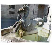 Seahorse fountain in Italy  Poster
