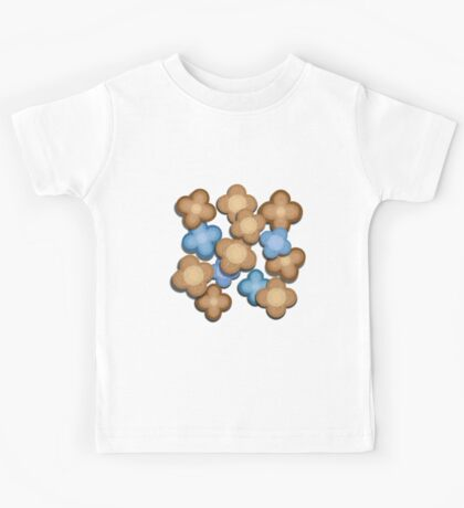 Brown and Blue Flowers Kids Tee