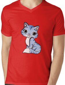 Animal Blue Cartoon Cat Feline Pet Mens V-Neck T-Shirt