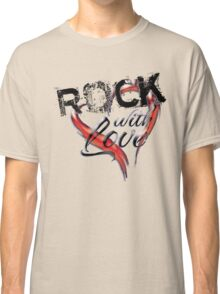 Rock with love - black text and black chrome look Classic T-Shirt