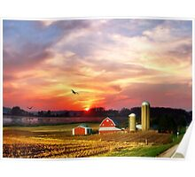 Silos in the Sunset Poster
