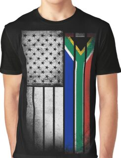 South African American Flag Graphic T-Shirt