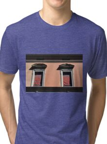 Two classical windows on a red wall in Bologna Tri-blend T-Shirt