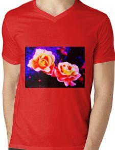 Psychedelic Roses Mens V-Neck T-Shirt