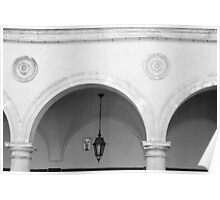 Beautiful round arches with columns in San Marino Poster
