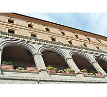 Building with columns and portico in Assisi, Italy Photographic Print