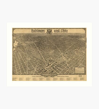 Vintage Pictorial Map of Washington D.C. (1921) Art Print