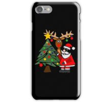 Funky Cool Funny Santa Claus, Christmas Tree, and Rudolph iPhone Case/Skin