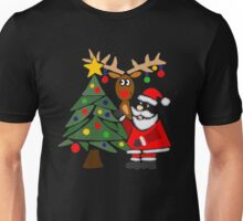Funky Cool Funny Santa Claus, Christmas Tree, and Rudolph Unisex T-Shirt