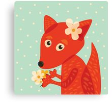 Cute Fox With Flowers Canvas Print