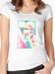 watercolors crazy fool Women's Fitted Scoop T-Shirt