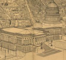 Vintage Pictorial Map of Washington D.C. (1872) Sticker