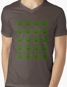 Happy Weed Pattern Mens V-Neck T-Shirt