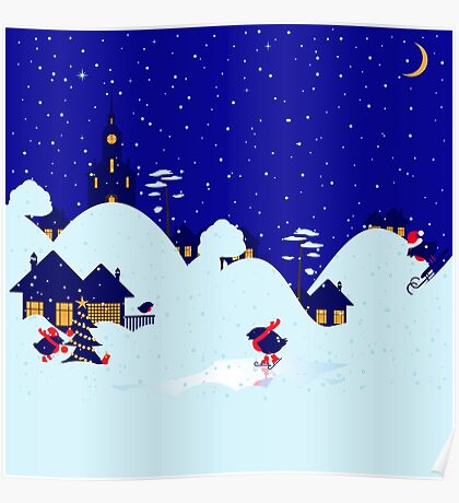 Wonderful winter landscape with bullfinch village Poster