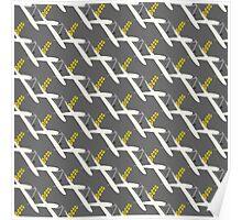 grey yellow brushstroke bg Poster