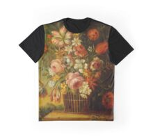 AUSTRIAN SCHOOL, 19TH CENTURY A still-life with flowers in a basket and a landscape in the background Graphic T-Shirt