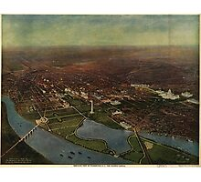 Vintage Pictorial Map of Washington D.C. (1916) Photographic Print
