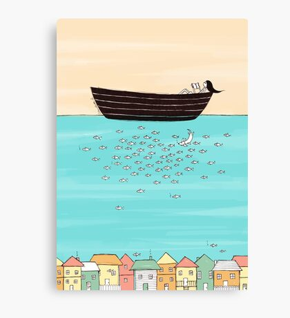 Swimming With Fish Canvas Print