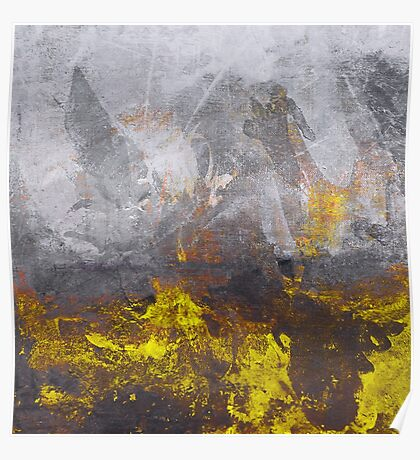 yellow grey abstraction Poster