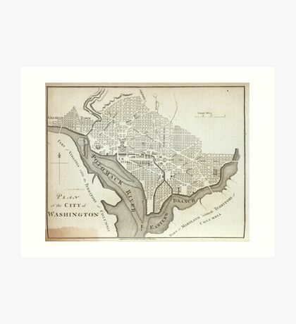 Vintage Map of Washington D.C. (1794) Art Print