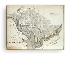 Vintage Map of Washington D.C. (1794) Canvas Print
