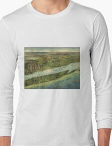 Vintage Pictorial Map of West Palm Beach (1915) Long Sleeve T-Shirt